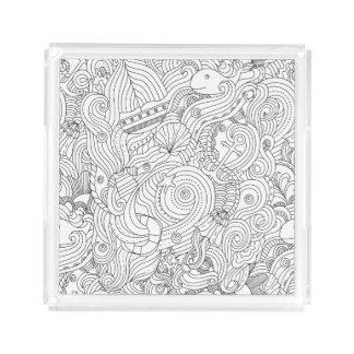 Nautical Doodle Acrylic Tray