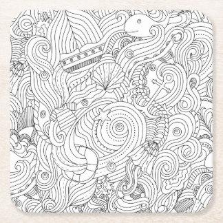 Nautical Doodle Square Paper Coaster