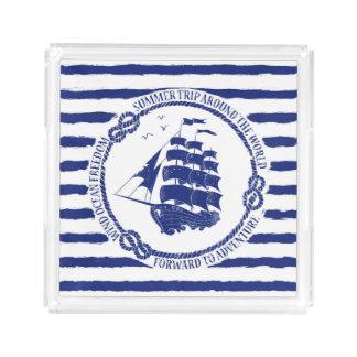 Nautical Emblem With Sailing Ship Acrylic Tray