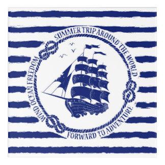 Nautical Emblem With Sailing Ship Acrylic Wall Art