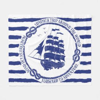 Nautical Emblem With Sailing Ship Fleece Blanket