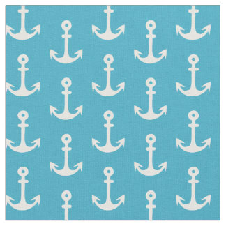 Nautical Fabric, Anchor Fabric, Blue and White Fabric