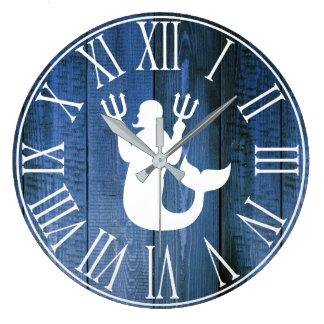 Nautical Faux Blue Wood & Merman Silhouette Large Clock
