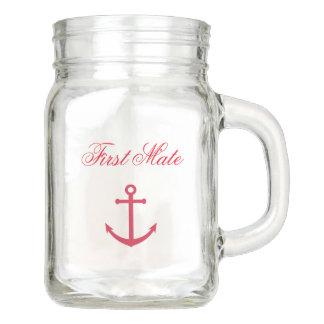 Nautical First Mate Mason Jar Mug with Anchor