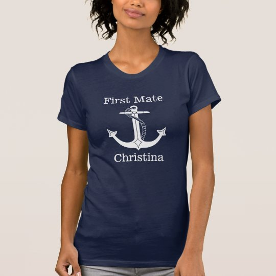 Nautical First Mate White Anchor Personalised T-Shirt