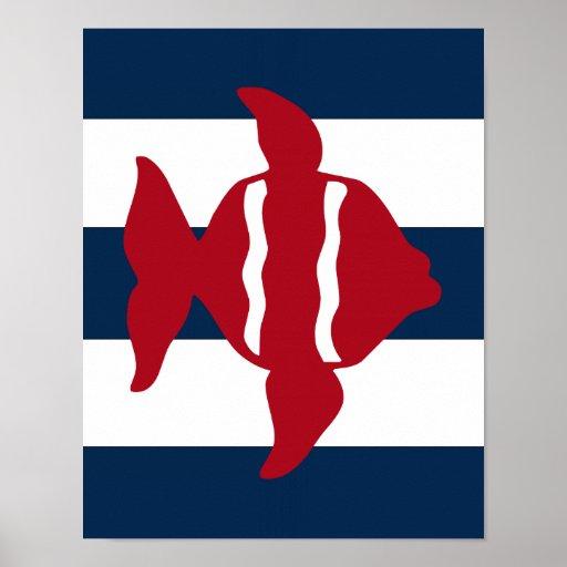 Nautical Fish print red, navy and white