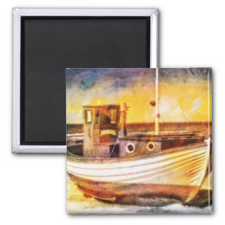 Nautical Fishing Boat on Beach at Sunset Ocean Art Magnets