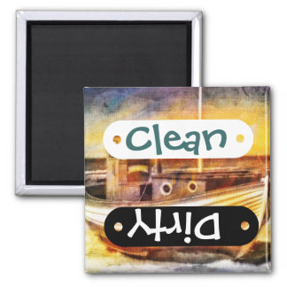 Nautical Fishing Boat on Beach at Sunset Ocean Art Square Magnet