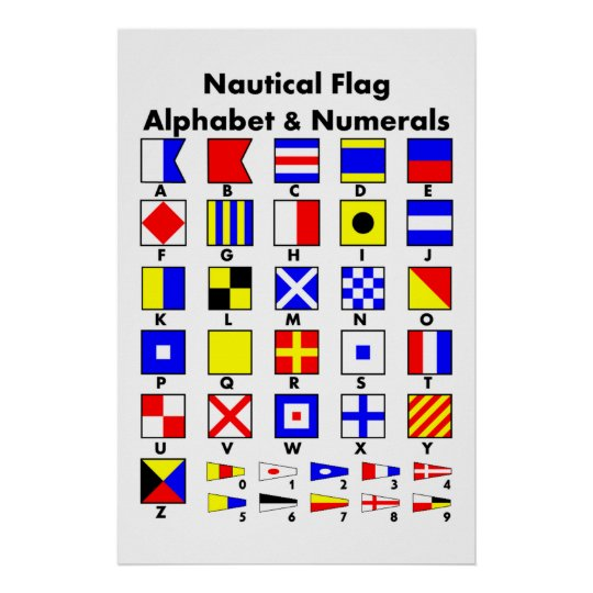 Nautical Flag Alphabet & Numerals Poster