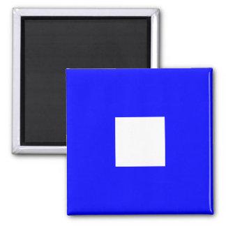 Nautical Flag Alphabet Sign Letter P (Papa) Square Magnet