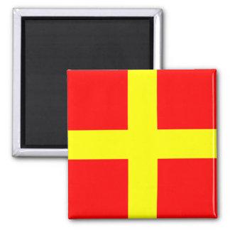 Nautical Flag Alphabet Sign Letter R (Romeo) Square Magnet