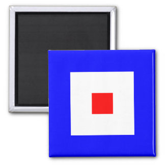 Nautical Flag Alphabet Sign Letter W (Whiskey) Square Magnet