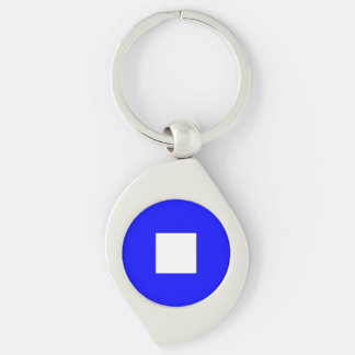 Nautical Flag Letter P (Papa) Silver-Colored Swirl Key Ring