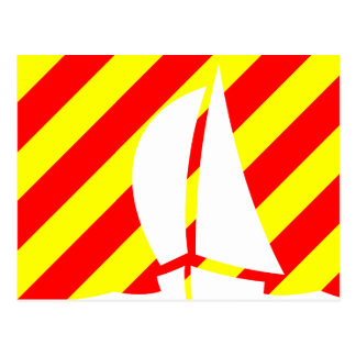 Nautical Flag Signal Letter Y Yankee Sailing Boat Postcard