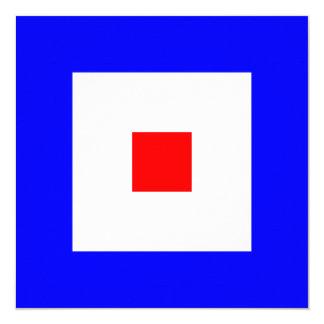 Nautical Flag Signal Whiskey Letter W 13 Cm X 13 Cm Square Invitation Card