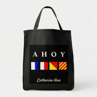 Nautical Flags Name Tote Grocery Tote Bag