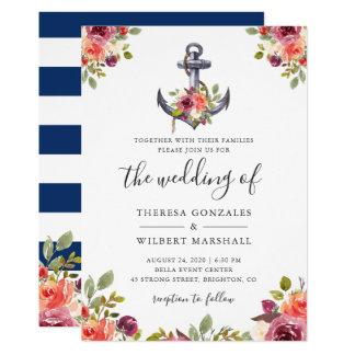 Nautical Floral Anchor Navy Blue Stripes Wedding Card