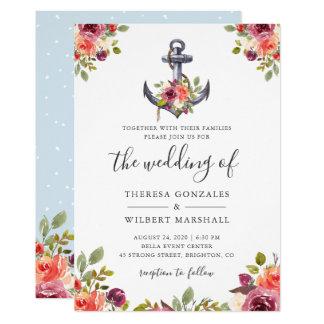 Nautical Floral Anchor Watercolor Wedding Knot Card