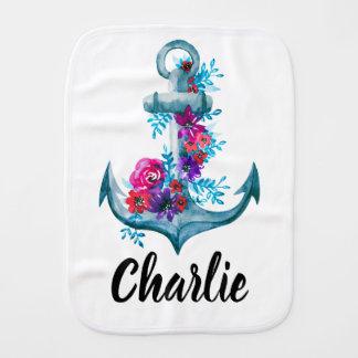 Nautical Floral Watercolor Anchor Design Burp Cloth