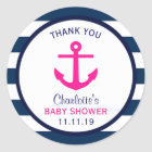 Nautical GIRL Hot Pink Navy Blue Baby Shower Classic Round Sticker