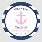Nautical GIRL Pink Navy Blue Baby Shower Favour Classic Round Sticker