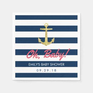 Nautical Gold Anchor Navy Blue Stripes Baby Shower Disposable Serviette