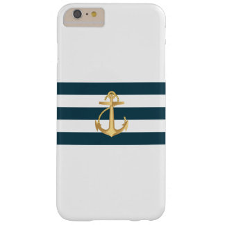 Nautical Gold Anchor Navy Blue Stripes Barely There iPhone 6 Plus Case