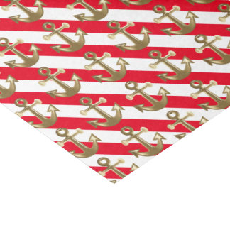 Nautical | Gold Anchors | White Stripes Tissue Paper