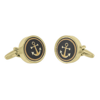 Nautical Gold Rope and Anchor Gold Finish Cufflinks