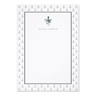 Nautical Gray and White Anchors and Octopus 13 Cm X 18 Cm Invitation Card