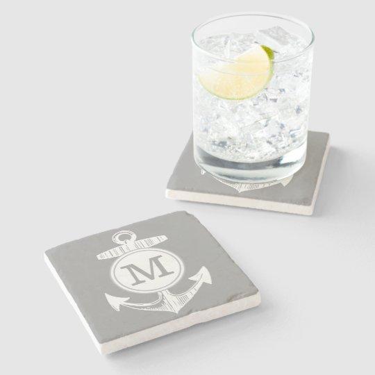 Nautical Grey Anchor Stone Coaster