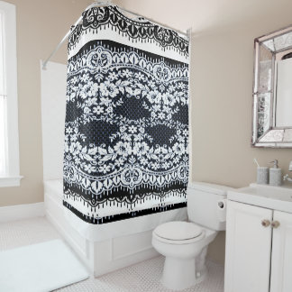 "Nautical-Gypsy _White_Black-Navy_ Lace"" Shower Curtain"
