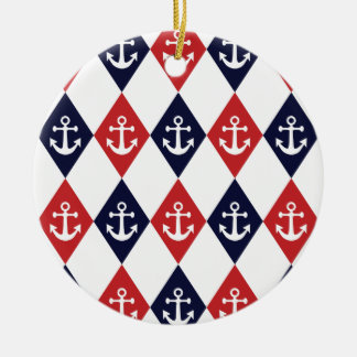 Nautical harlequin pattern christmas ornament