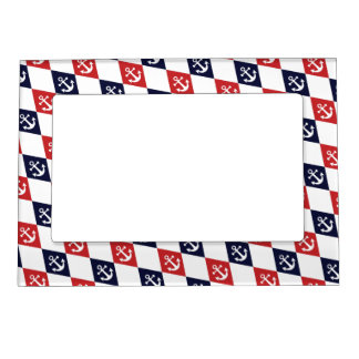 Nautical harlequin pattern magnetic picture frame