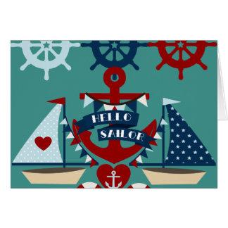 Nautical Hello Sailor Anchor Sail Boat Design Card