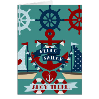 Nautical Hello Sailor Anchor Sail Boat Design Card