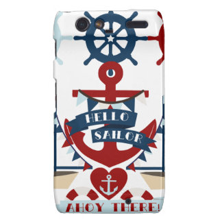 Nautical Hello Sailor Anchor Sail Boat Design Motorola Droid RAZR Cases
