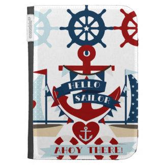 Nautical Hello Sailor Anchor Sail Boat Design Case For Kindle