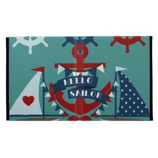 Nautical Hello Sailor Anchor Sail Boat Design iPad Folio Covers