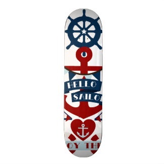 Nautical Hello Sailor Anchor Sail Boat Design Skateboard Deck