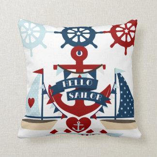 Nautical Hello Sailor Anchor Sail Boat Design Throw Pillow