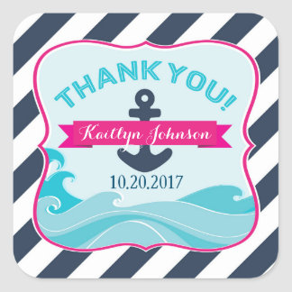 Nautical Hot Pink Anchor Ocean Wave Thank You Square Sticker