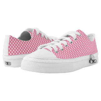 Nautical Hot Pink Plaid Pattern Zipz Shoes Printed Shoes