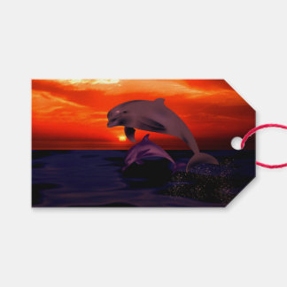 Nautical Jumping Dolphins Orange Ocean Sunset