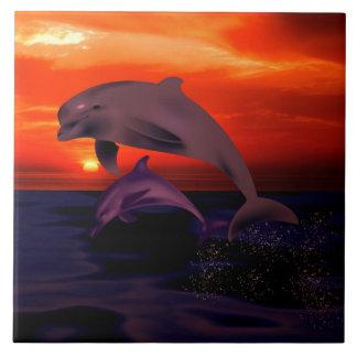 Nautical Jumping Dolphins Orange Ocean Sunset Large Square Tile