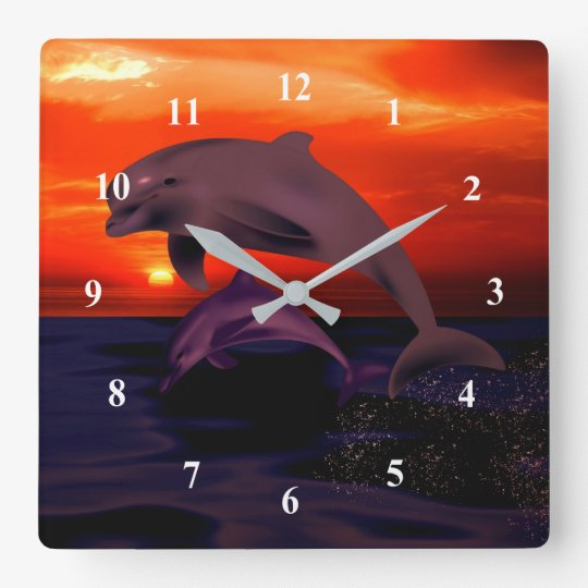 Nautical Jumping Dolphins Orange Ocean Sunset Square Wall