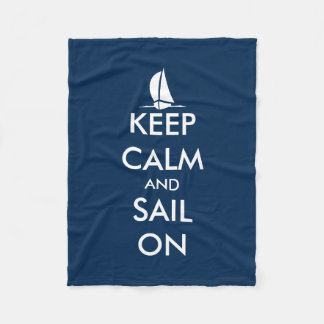 Nautical keep calm and sail on fleece blanket