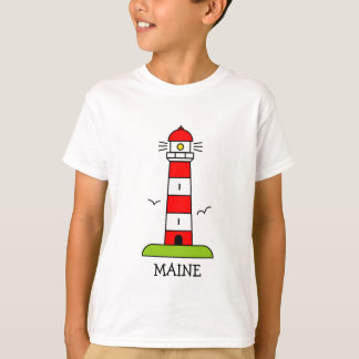 Nautical kids clothing | Maine lighthouse cartoon T-Shirt