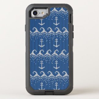 Nautical Knit Pattern OtterBox Defender iPhone 8/7 Case