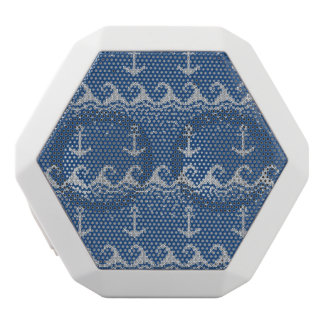 Nautical Knit Pattern White Bluetooth Speaker